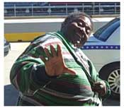 Chubby the businessman cab driver