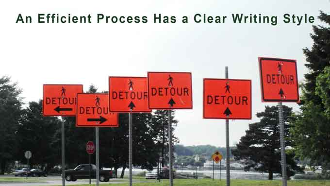 an efficient process has a clear writing style