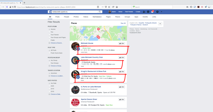 facebook search results local business