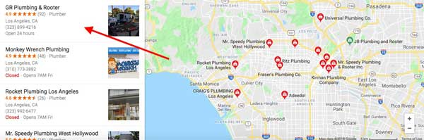 review listings in local search google my business